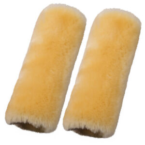 Beige Car Seat Belts Covers 2 Pack Wool Sheepskin Seatbelt Shoulder Pad Cover