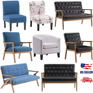 Modern Arm Chair Accent Sofa Seat Pu Fabric Upholstered Wood Frame Living Room