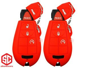 2x New Key Fob Remote Fobik Silicone Cover Fit For Chrysler Dodge Jeep Vw