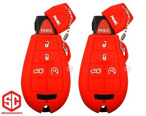 2x New Key Fob Remote Fobik Silicone Cover Fit For Chrysler Dodge Jeep
