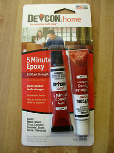 Devcon 5 minute Epoxy Two part Glue Mixture Quick Setting Dries Fast 2 Tubes