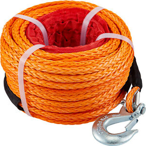Vevor Winch Rope Dyneema Synthetic With Hook 3 8 X 100ft 18740lbs Towing Cable