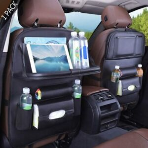 Car Back Seat Organizer With Foldable Table Tray Pu Leather Protector