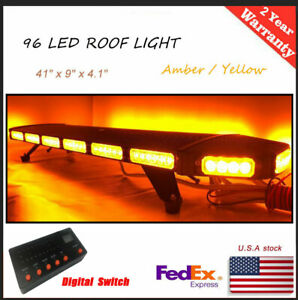 41 96 Led Warn Strobe Light Bar Flash Tow Plow Truck Amber Yellow Led Switch