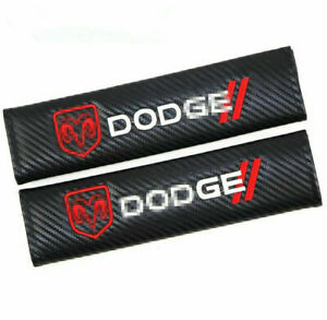 Car Carbon Fiber Seat Belt Cover Cushion Pads Embroidered Logo For Dodge 2pcs
