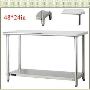 Stainless Steel 48 x24 commercial Kitchen Work Food Prep Table For Hotel Kitchen