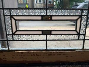 Antique Stained Leaded Glass Transom Window 23 X 14 Circa 1925
