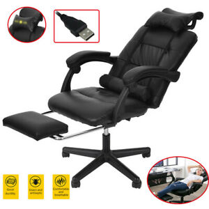 Gaming Racing Chair Leather Executive Recliner Swivel Office Computer Footrest