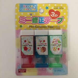Daiso Correction Tape Kawaii Collection Cute Set Of 3 Hedgehog Duck Mushroom