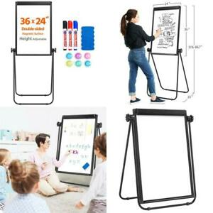 Height Adjustable U Stand Whiteboard 24 X 36 Double Sided Easel Office Classroom