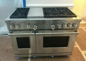 Wolf Df486g 48 Professional Dual Fuel Range Stove 6 Burners Griddle Used