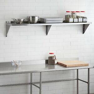 18 Gauge Stainless Steel 12 X 84 Solid Wall Shelf 3 Support Brackets