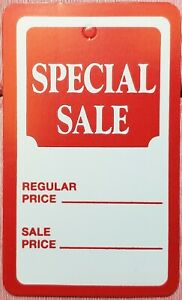 1000 Red White Special Sale Coupon Merchandise Price Tags Large Unstrung Label