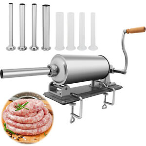 Stainless Steel Horizontal Sausage Stuffer 3l Maker Meat Filler Commercial New