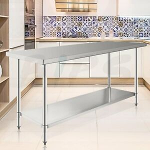 24 X 72 Stainless Steel Nsf Commercial Kitchen Food Work Table With Undershelf