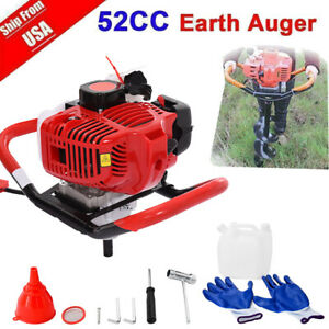 52cc Post Hole Digger Gas Powered Earth Auger Borer Fence Ground Drill No Bits