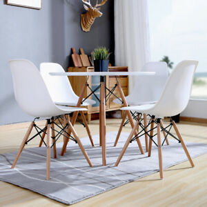 4 Pcs Kitchen Chair Dining Lounge Restaurant Simple Chair Wooden Eames Nordic Aa