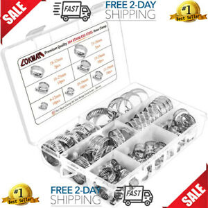 60x Stainless Steel Hose Clamp Set Adjustable Worm Gear Assortment Drive Clamps