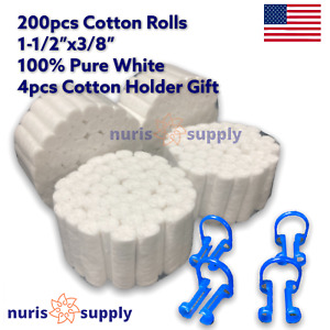 200pcs 2 Dental Cotton Rolls 100 Pure White High Absorbency 4pcs Holder Gift