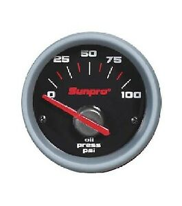 Sunpro 2 Electrical Oil Pressure Gauge Black Aluminum Bezel 0 100 Psi Cp7001