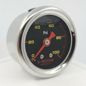 Fuel Pressure Gauge Liquid Filled Black 1 8 Npt 100 Psi