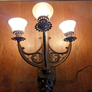 Antique Brass 3 Arm Wall Sconce Gothic Castle Light