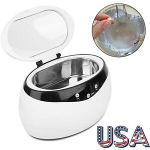 Stainless Steel Ultrasonic Cleaning Machine Mute Cleaner Jewelry Glasses 650ml