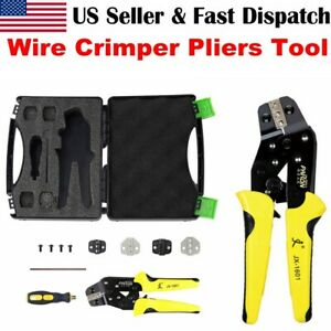 Us Wire Crimper Pliers Ratchet Insulated Cable Connectors Terminal Crimping Tool