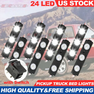 Waterproof 6000k Pickup Truck Bed Lights 24 Led Pod Kit Strip White With Switch