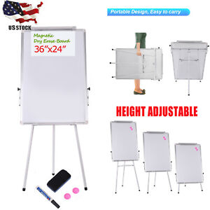 24 x36 Magnetic Dry Erase White Board With Tripod Stand Live Stream Homeschool