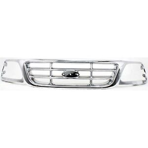 Grille For 99 04 Ford F 150 04 F 150 Heritage W Emblem Provision Chrome Plastic