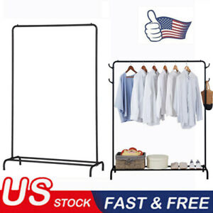Single Bar Garment Rack Clothes Stand W Lower Storage Shelf Heavy Duty Holder