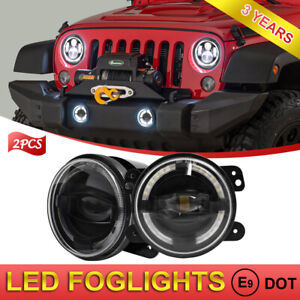 Pair 4 Led Fog Lights With Halo Angel Eye For Jeep Wrangler Renegade Liberty
