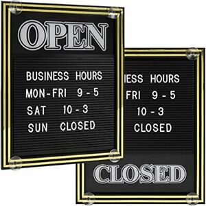 Open And Closed Sign With Letter Board For Customizable Message Store Business