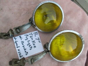 1928 1934 Approx 7 Early Yankee Script Fog Lights With Brackets