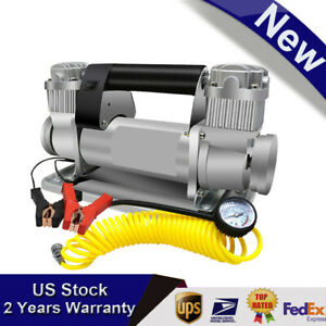 24v Tire Duty Double Cylinders Direct Drive Metal Pump W 5m Extension Air Hose