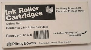 Genuine Pitney Bowes 2 Red Ink Roller Cartridges For 6900 Postage Meter New