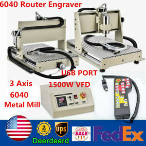 Usb 3 Axis 1500w Cnc 6040 Router Metal Wood Engraver Machine Cutter Controller