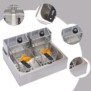 12l Electric Deep Fryer Single Tank Commercial Restaurant Stainless Steel 5000w