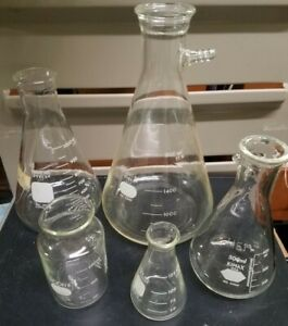 5 Pc Mixed Lot Vintage Chemistry Lab Glassware Beakers Flasks Pyrex Kimax