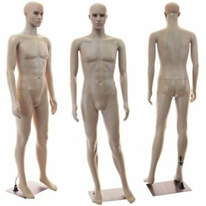 Male Full Bod Mannequin Base Arms Head Rotate Realistic Looking Manikin 1wig