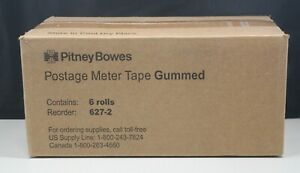 6 Rolls Pitney Bowes 627 2 Postage Meter Tape Gummed New In Box