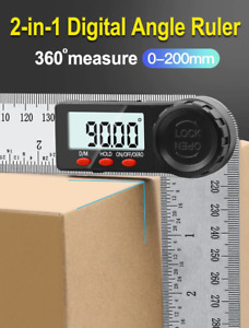 Digital Protractor Angle Ruler 200mm 8in Angle Finder Meter Stainless Steel 360d