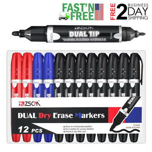 12 Pack Dry Erase White Board Markers Pen Fine Point Low Odor Assorted Colors