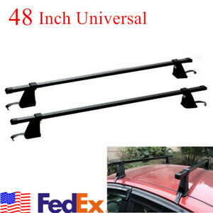 Us Ship Pair Black Aluminum 48 Roof Rack Cross Bar Cargo Carrier For 4 Door Car