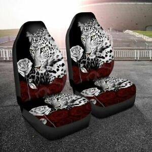 2pc Leopard Printed Universal Car Seat Cover Protector Front Cushion Breathable