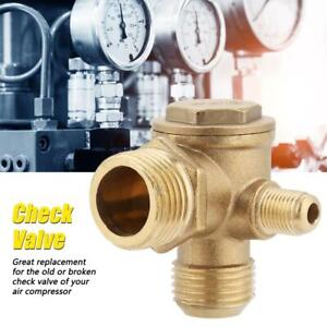 Air Compressor 3 way Brass Male Threaded Check Valve Connector 90 Degree