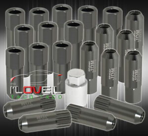 For Mercury M12x1 5 Locking Lug Nuts Open End Extend Aluminum 20 Piece Set Gray