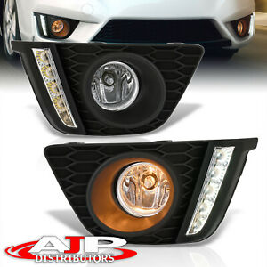 Clear Led Drl Driving Fog Lights Lamps Wiring Switch For 2015 2017 Honda Fit