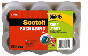 Scotch Dp1000rf6 Sure Start Shipping Packaging Tape 1 88 X 900 clear 6 Pack New